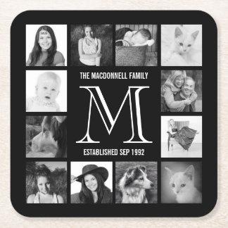 Fotos de Instagram de la familia del monograma Posavasos De Cartón Cuadrado