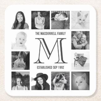 Fotos de Instagram de la familia del monograma Posavasos Desechable Cuadrado