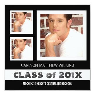 """Fotos del graduado tres del varón invitación 5.25"""" x 5.25"""""""