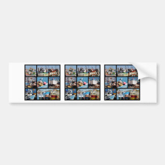 Fotos del mosaico de los barcos de pesca pegatina para auto