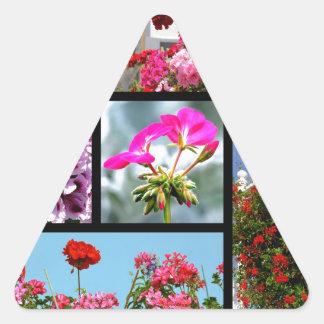 Fotos del mosaico del geranio pegatina triangular