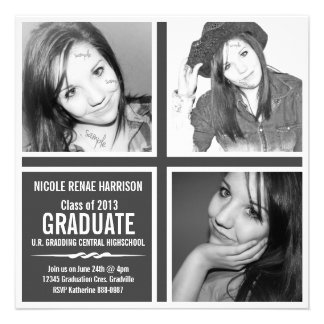 Fotos modernas intrépidas del graduado 3 del gris invitacion personalizada