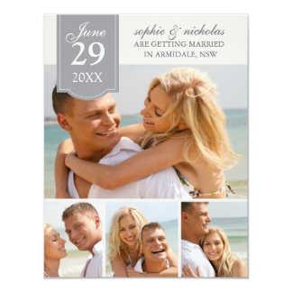 Fotos modernas que casan reserva la fecha invitación 10,8 x 13,9 cm