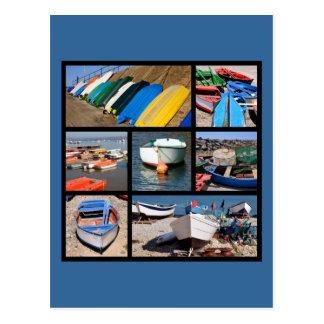 Fotos múltiples de botes pequeños postal
