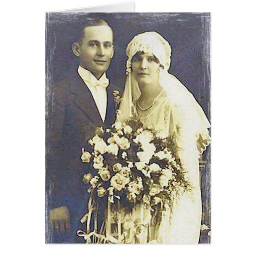 Fotos románticas antiguas de novia y del novio del tarjeta de felicitación