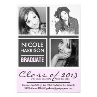 Fotos rosadas y grises bonitas del fiesta 3 del gr invitación
