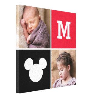 Fotos y monograma del personalizado de Mickey Impresión En Lienzo