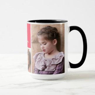 Fotos y monograma rojos del personalizado del taza
