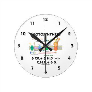 Fotosíntesis (fórmula química) reloj de pared