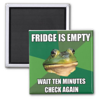 Foul Bachel Frog Empty Fridge 2 Inch Square Magnet
