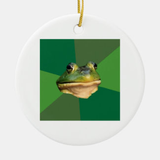 Foul Bachelor Frog Advice Animal Meme Ceramic Ornament