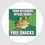 Foul Bachelor Frog Free Snscks Round Sticker
