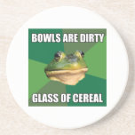 Foul Bachelor Frog Glass of Cereal Beverage Coaster