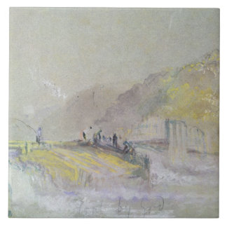 Foul by God: River Landscape with Anglers Fishing Ceramic Tile