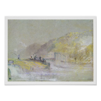 Foul by God: River Landscape with Anglers Fishing Poster
