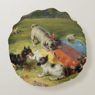 Found a Toy by Frank Paton Round Pillow