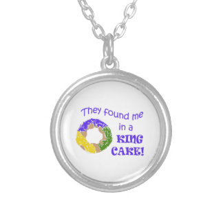 FOUND ME IN A KING CAKE ROUND PENDANT NECKLACE