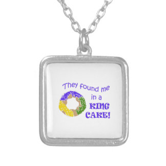 FOUND ME IN A KING CAKE SQUARE PENDANT NECKLACE