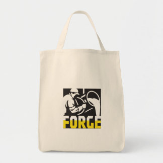 Foundry Worker Pouring Molten Metal Square Retro Tote Bag