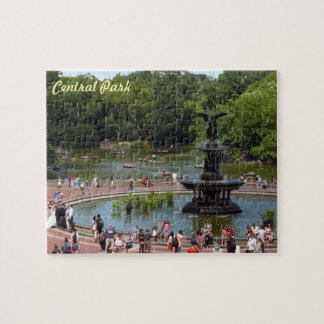 Fountain and Lake in Central Park, New York City Jigsaw Puzzle