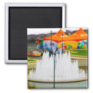 Fountain and Orange Tent at Union Station KC 2 Inch Square Magnet