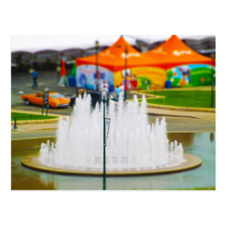 Fountain and Orange Tent at Union Station KC Postcard