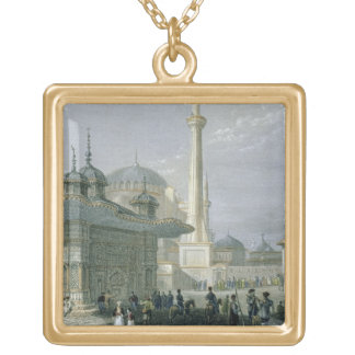 Fountain and Square of St. Sophia, Istanbul, engra Gold Plated Necklace