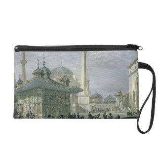 Fountain and Square of St. Sophia, Istanbul, engra Wristlet Purse