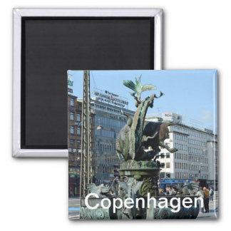 Fountain at City Hall square in Copenhagen 2 Inch Square Magnet
