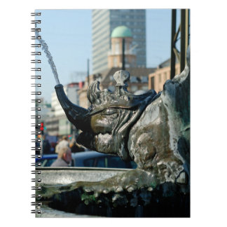 Fountain at City Hall square in Copenhagen Spiral Notebook