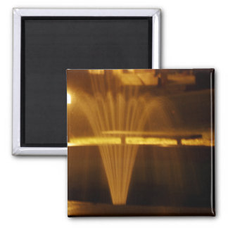 Fountain at Night 2 Inch Square Magnet