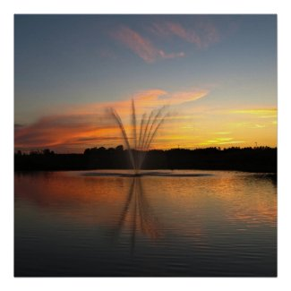 Fountain at Sunset Poster