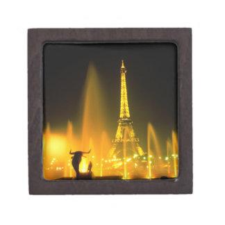 Fountain at the world famous Eiffel Tower Paris Premium Trinket Box
