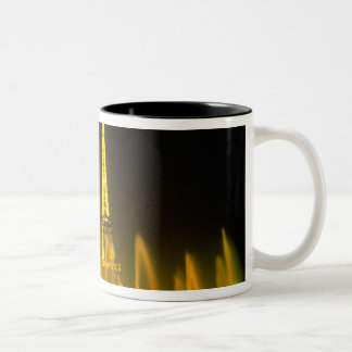 Fountain at the world famous Eiffel Tower Paris Two-Tone Coffee Mug