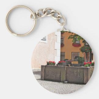 Fountain, Castelrotto (Kastelruth), Italy Basic Round Button Keychain