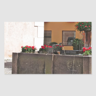 Fountain, Castelrotto (Kastelruth), Italy Rectangular Sticker
