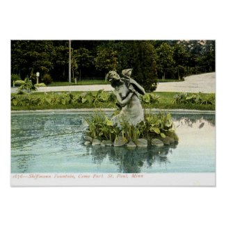 Fountain, Como Park, St. Paul, MN 1907 Vintage print