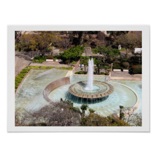 Fountain Downtown Los Angeles Poster