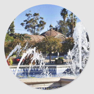 Fountain In Balbao Park San Diego Round Stickers