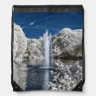 Fountain in Infrared Drawstring Bag