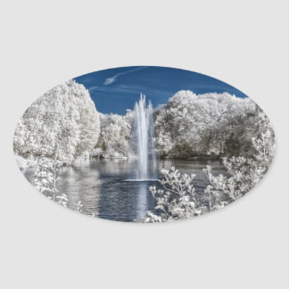Fountain in Infrared Oval Sticker