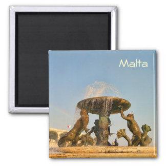 Fountain in Malta 2 Inch Square Magnet