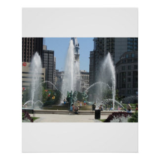 Fountain in the City of Philadelphia Posters