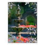 fountain in the flowers greeting cards