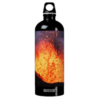 Fountain lava eruption from crater active volcano aluminum water bottle