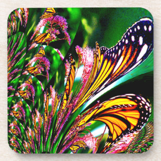 Fountain of Butterflies Fractal Abstract Design Coaster