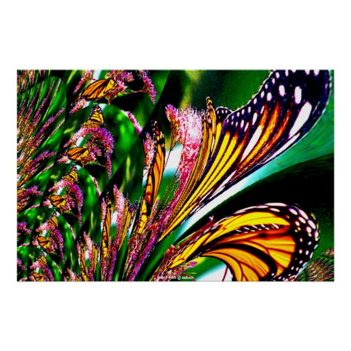 Fountain of Butterflies Fractal Cute Girly Xmas Poster