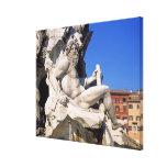 Fountain of Four Rivers on Piazza Navona. Rome, Gallery Wrapped Canvas