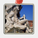 Fountain of Four Rivers on Piazza Navona. Rome, Christmas Ornament