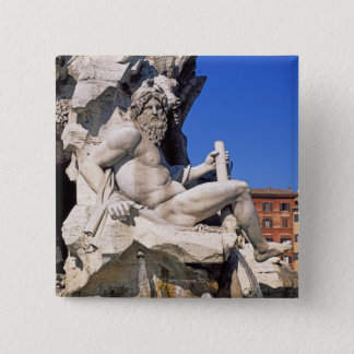 Fountain of Four Rivers on Piazza Navona. Rome, Pinback Button